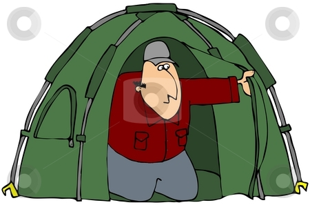 Man Looking Out Of A Tent stock photo, This illustration depicts a man peering out of his tent. by Dennis Cox