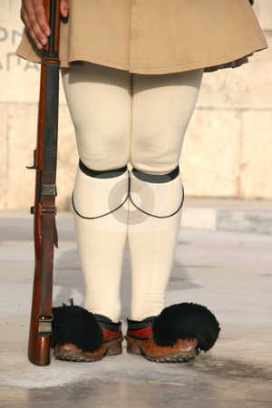 Traditional guard detail stock photo, Greek traditional guard of honor tsolias detail vertical by EVANGELOS THOMAIDIS