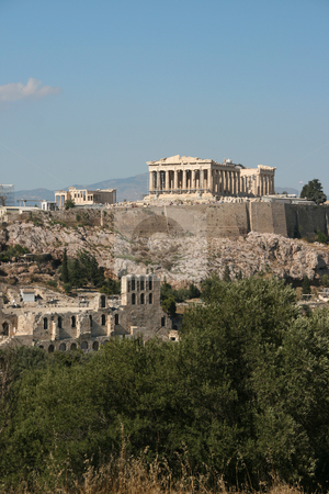 Parthenon and herodion stock photo, Parthenon herodion and erechthion ancient historic landmarks of athens greece europe by EVANGELOS THOMAIDIS
