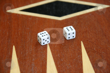 Dices on backgammon stock photo, Two dices on backlgammon toys and leisure items by EVANGELOS THOMAIDIS
