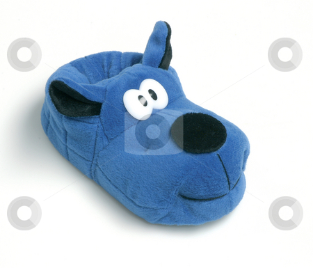 Blue shoe stock photo, Blue funny soft shoe cartoon dog style for indoor relaxing on white background by EVANGELOS THOMAIDIS