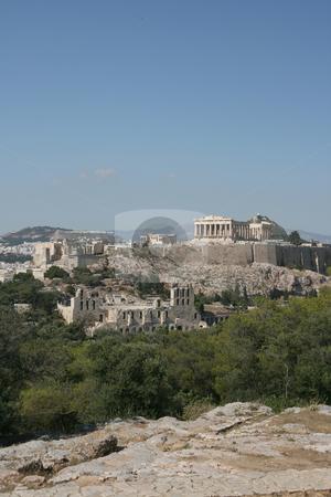 Landmarks parthenon stock photo, Acropolis the parthenon herodion theatre and erechthion view of famus landmarks of athens greece by EVANGELOS THOMAIDIS