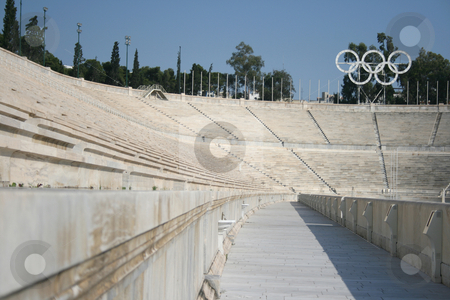 Athens stadium stock photo, Detail from kalimarmaro stadium in athens greece the stadium where the first new olympic games started by EVANGELOS THOMAIDIS