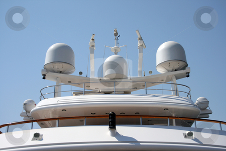 Yacht radar stock photo, Yacht radar technology and communications equipment from luxurius yacht by EVANGELOS THOMAIDIS