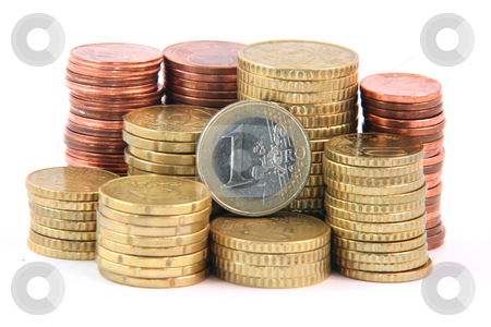 One euro and change stock photo, One euro and piles of euro coins isolated on white background money and finance concepts by EVANGELOS THOMAIDIS
