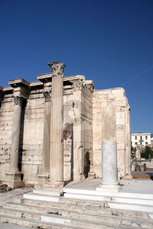Library of handrian stock photo, Library of handrian the entrance ancient roman construction athens greece landmarks by EVANGELOS THOMAIDIS