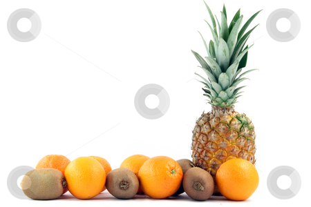 Ananas copy space stock photo, Fruits oranges kiwi and ananas with copy space isolated on white background agriculture and healthy eating by EVANGELOS THOMAIDIS