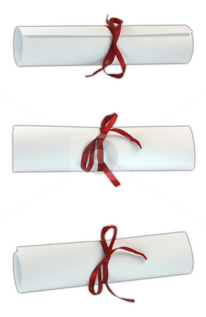Three diplomas with path stock photo, Three diplomas with red ribbon isolated on white background with clipping paths three shuts image by EVANGELOS THOMAIDIS