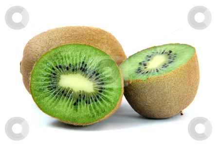 One kiwi and two halfs stock photo, One kiwi and two half isolated on white background healthy eating and agriculture concepts by EVANGELOS THOMAIDIS