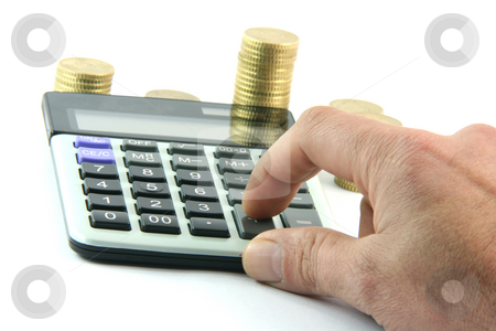 Calculating  stock photo, Calculating the money  isolated on white background business and finance concepts by EVANGELOS THOMAIDIS