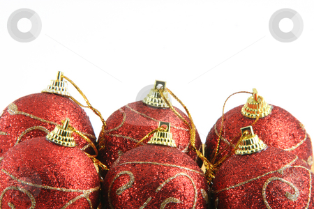 Six christmas balls stock photo, Six red christmas decoration balls isolated on white background wiyh copy space by EVANGELOS THOMAIDIS