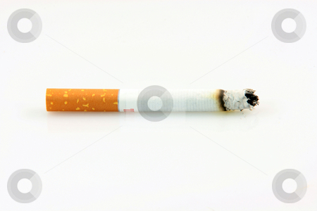 Smoking cigarette stock photo, Health and addiction concepts cigarette smoking isolated on white background by EVANGELOS THOMAIDIS