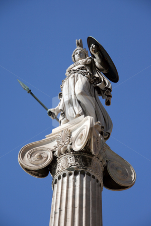 Goddess athena stock photo, Landmarks of athens the statue of goddess athena from below angle by EVANGELOS THOMAIDIS