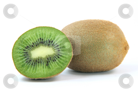 Hole and half kiwi stock photo, Hole and half kiwi fruit isolated on white background healthy eating and agriculture concepts by EVANGELOS THOMAIDIS