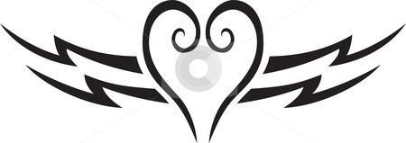 Heart tattoo stock vector clipart, Sweet lovely heart shape tattoo for lovers by Oxygen64