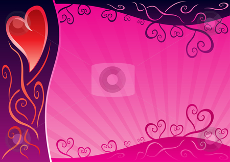 Valentine card stock vector clipart, Sweet pink background for valentine post card by Oxygen64