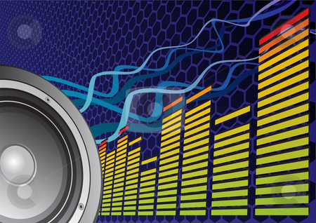 Beats of music stock vector clipart, Speaker and equalizer on abstract background by Oxygen64