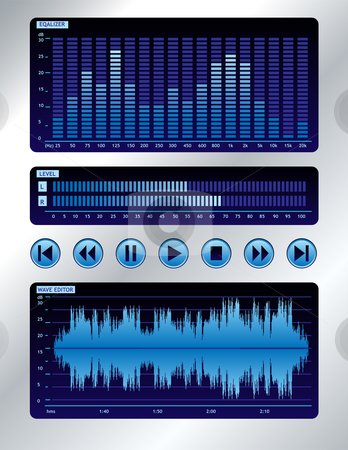 Blue sound mixer stock vector clipart, Wave editor, spectrum analyzer, output level on digital display and buttons by oxygen64