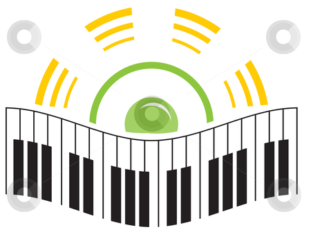 Music logo stock vector clipart, Piano and speaker in music logo template by Oxygen64