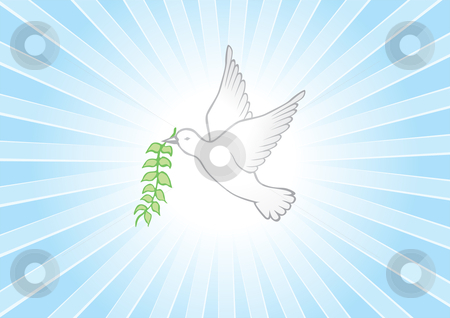 Peace background stock vector clipart, Bright background and white dove symbolizes peace by Oxygen64