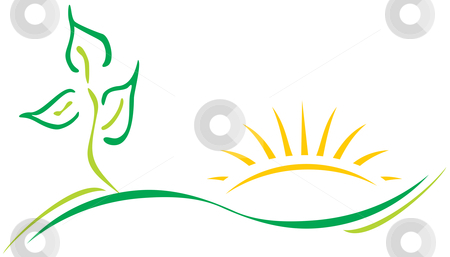 Ecology logo stock vector clipart, Ecology theme logo template with leaf and sun by oxygen64