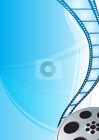 Film strip stock vector clipart, Cinema video film strip at bright blue background by oxygen64