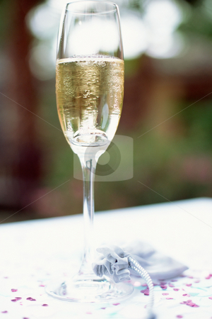 Champagne glass stock photo, Champagne flute on table by Mpixis World