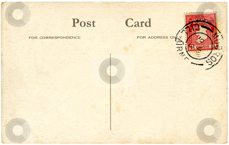 A vintage blank Irish postcard with a red stamp. stock photo, A vintage blank Irish postcard with a red stamp and space for text. by Stephen Rees