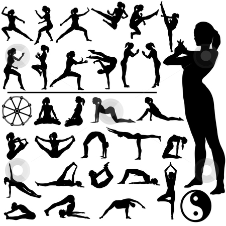 Fitness Women - Martial Arts & Yoga stock vector clipart, Set of fitness women exercise, do martial arts and yoga, in a group of silhouettes, with Eastern, Buddhist symbols. by Michael Brown