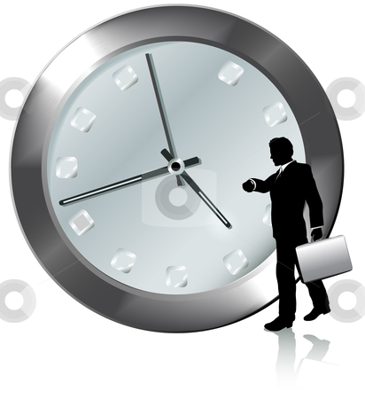 Appointment On Time Business Person Watches Watch stock vector clipart, A business man on time or late for appointment walks, watches the time on his wrist watch. by Michael Brown