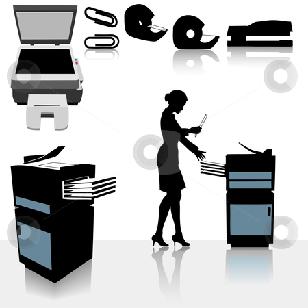 Office Copiers Business Woman stock vector clipart, Set of copy related office supplies, copiers and office worker business person making copies. by Michael Brown