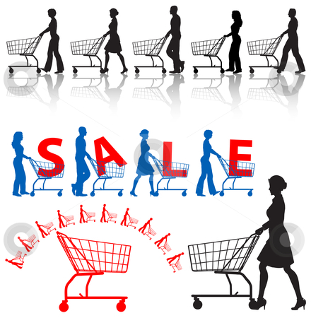 Shoppers Shopping Carts Silhouettes stock vector clipart, Five men & women shoppers push shopping carts. A SALE sample design, a shopping-carts element. by Michael Brown