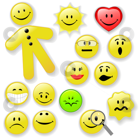 Smiley Face Button Emoticon Family stock vector clipart, Family of fresh smiling faces, on shiny buttons, with shadows. Expressive Emoticons: Happy; Smiley; Poison; Sunny; OMG; Woozy; Big Grin, Etc. by Michael Brown