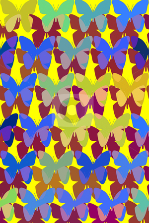 Pattern with butterflies stock photo, Butterflies and their shadows textured in a pattern by Wino Evertz