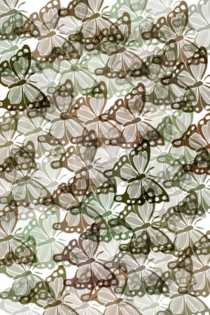 Pattern with butterflies stock photo, Butterflies in soft pastelcolours on white background by Wino Evertz