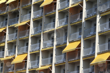 Hotel facade stock photo, Detail of an hotel with room terraces by Massimiliano Leban