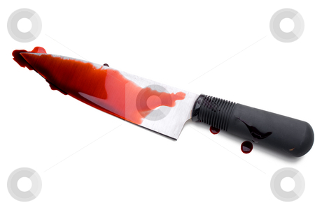 Bloody chefs Knife stock photo, A bloody chef's Knife by Vince Clements