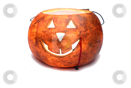 Glowing pumpkin stock photo, Glowing pumpkin with blood dripping from the mouth by Vince Clements