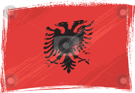 Grunge Albania flag stock vector clipart, Albania national flag created in grunge style by oxygen64