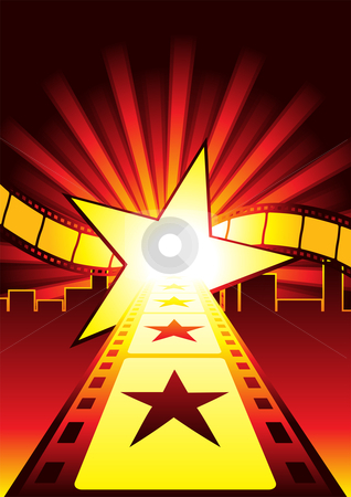 Road to stars stock vector clipart, Road to become a superstar in hollywood by Oxygen64