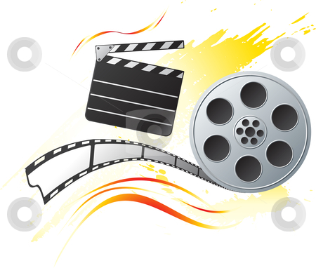 Grunge at cinema stock vector clipart, Movie reel at bright orange background in grunge style by oxygen64