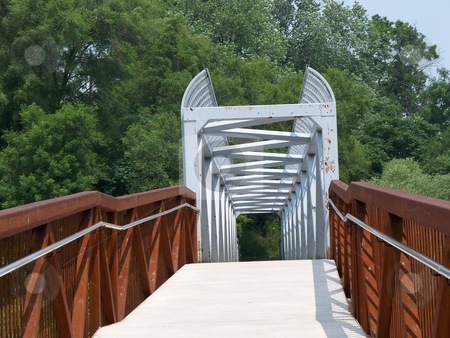 Walking Bridge stock photo, Walking Bridge thru woods in local park by CHERYL LAFOND