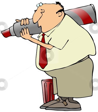 Man With A Giant Marker stock photo, This illustration depicts a man carrying a giant red marker on his shoulder. by Dennis Cox