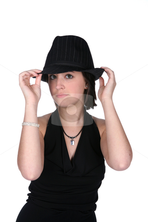 Old style gangster looking teen with black hat and dress