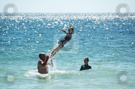 Summer Fun 2 stock photo, Family having fun in the water at Port Rickaby, South Australia by Irene Scales