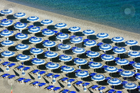Scilla beach umbrellas from above stock photo, View on a beach with parasols from Scilla (Calabria) by Natalia Macheda