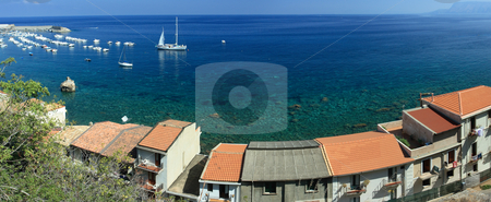 Scilla coast stock photo, Panoramic sea view from Scilla coast with typical calabrian houses on the foreground by Natalia Macheda