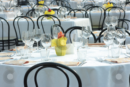 Table setting stock photo, Many beautifully decorated tables outdoors by Natalia Macheda