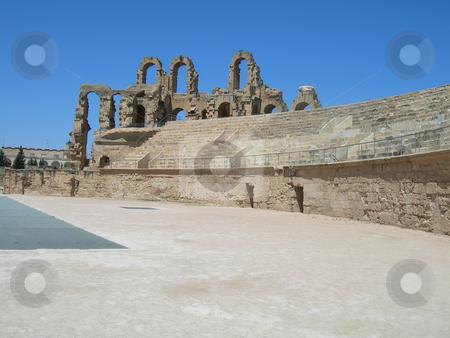 Colosseum stadium tunisia stock photo, Colosseum landmarks ancient roman stadium in tunisia africa by EVANGELOS THOMAIDIS