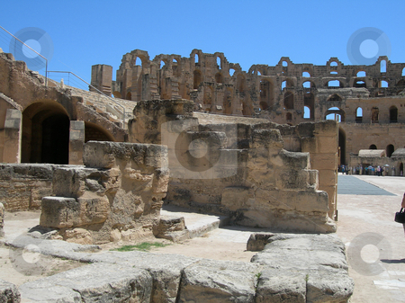 Colosseum of tunisia stock photo, Colosseum landmarks ancient roman stadium in tunisia africa by EVANGELOS THOMAIDIS